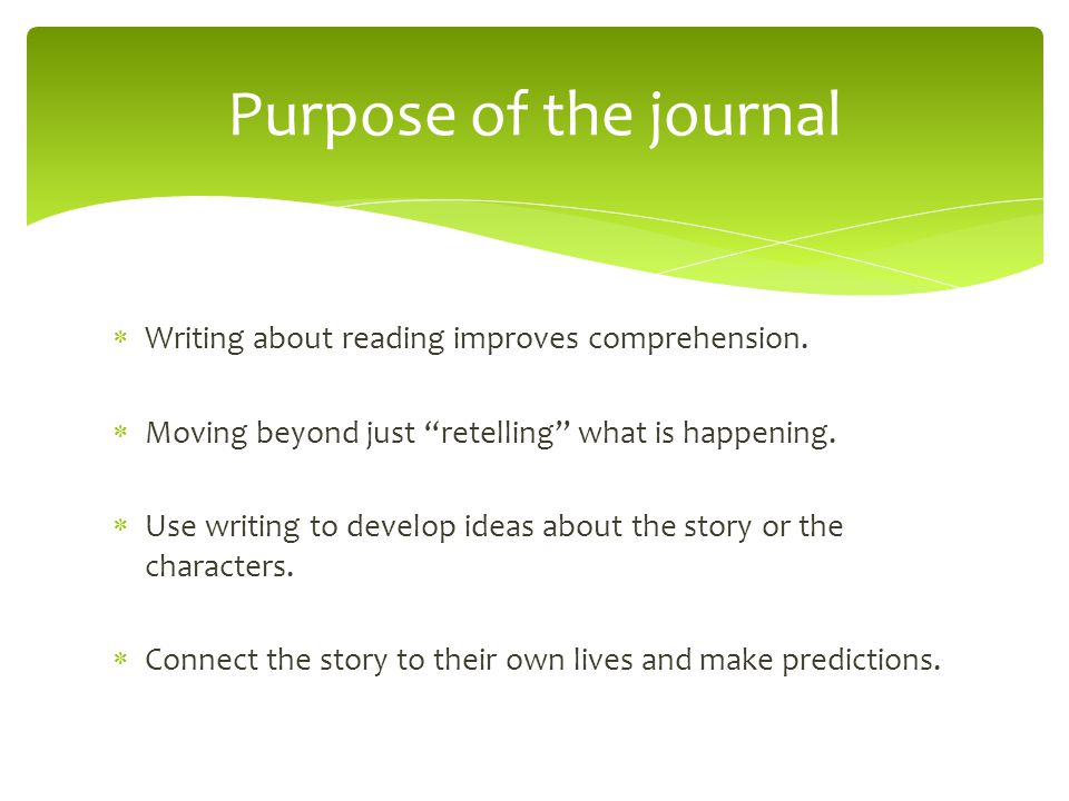 Purpose of the journal Writing about reading improves comprehension.