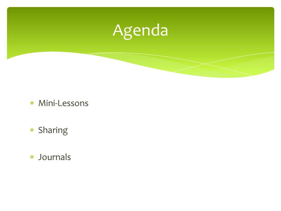 Agenda Mini-Lessons Sharing Journals