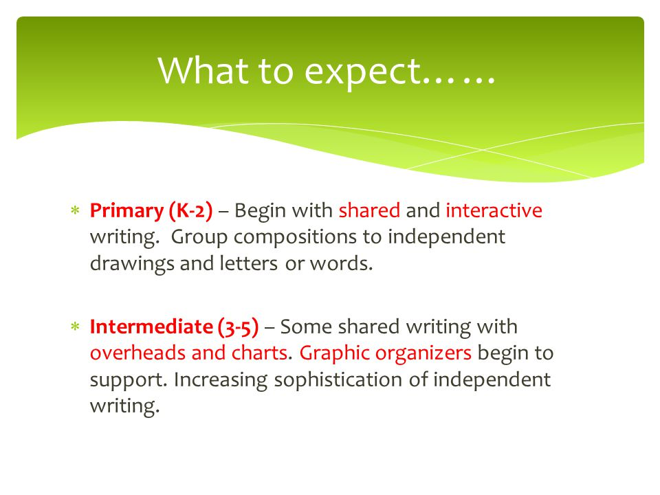 What to expect…… Primary (K-2) – Begin with shared and interactive writing. Group compositions to independent drawings and letters or words.