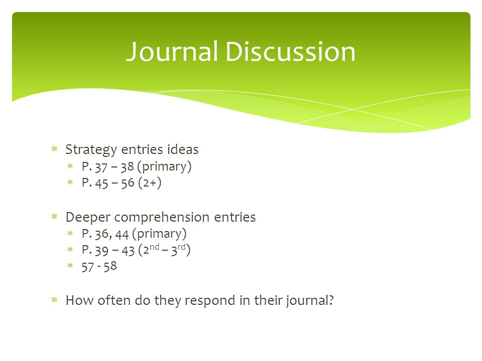 Journal Discussion Strategy entries ideas Deeper comprehension entries