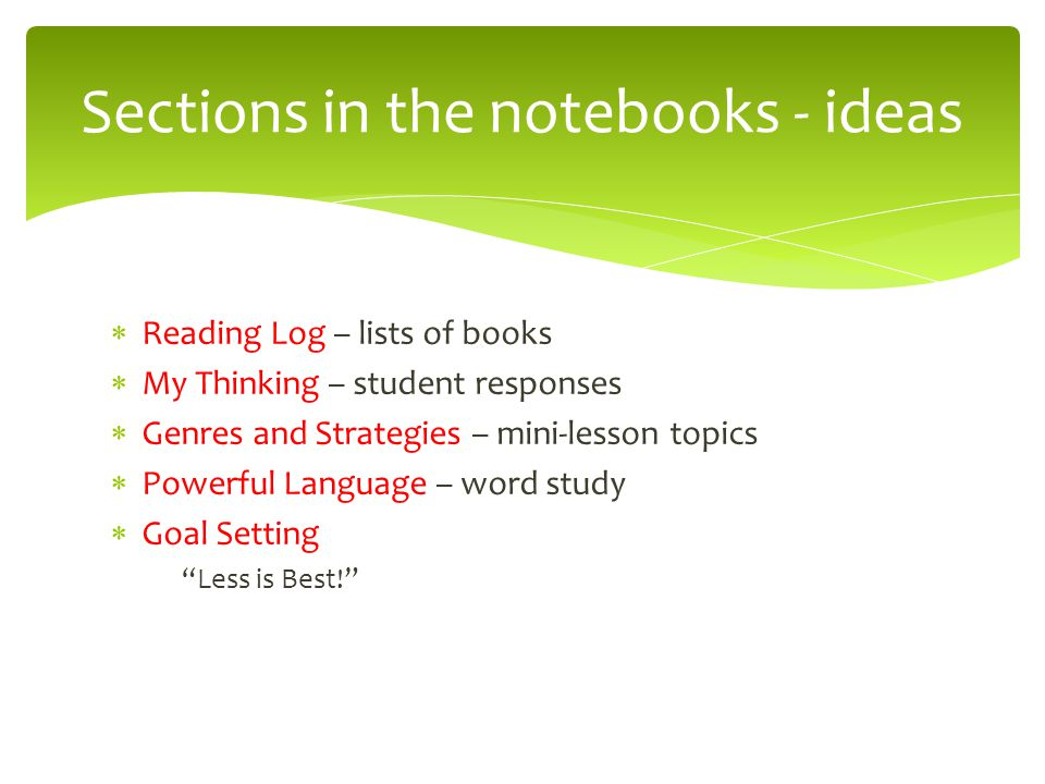 Sections in the notebooks - ideas