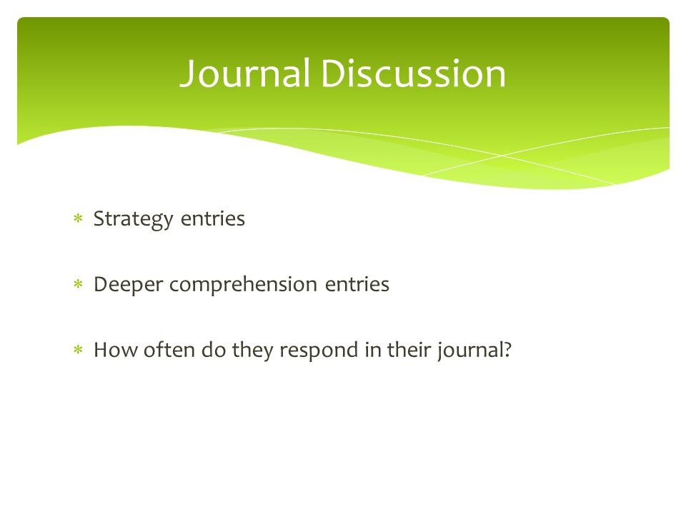 Journal Discussion Strategy entries Deeper comprehension entries