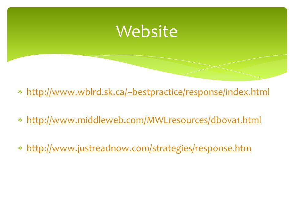 Website http://www.wblrd.sk.ca/~bestpractice/response/index.html