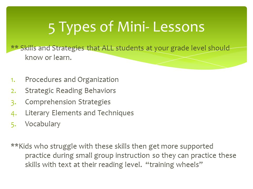 5 Types of Mini- Lessons ** Skills and Strategies that ALL students at your grade level should know or learn.