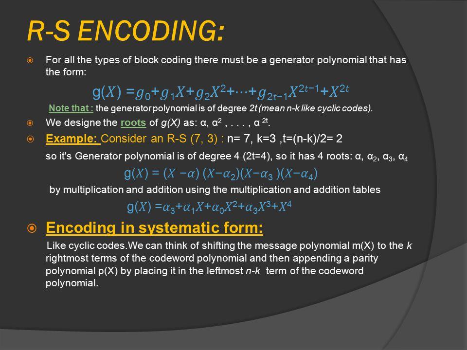 R-S ENCODING: g(𝑋) =𝑔0+𝑔1𝑋+𝑔2𝑋2+⋯+𝑔2𝑡−1𝑋2𝑡−1+𝑋2𝑡
