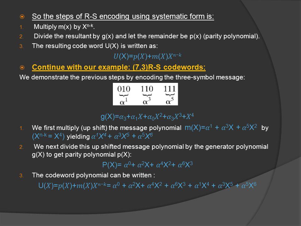 U(𝑋)=𝑝(𝑋)+𝑚(𝑋)𝑋𝑛−𝑘= 𝛼0 + 𝛼2X+ 𝛼4X2 + 𝛼6X3 + 𝛼1X4 + 𝛼3X5 + 𝛼5X6