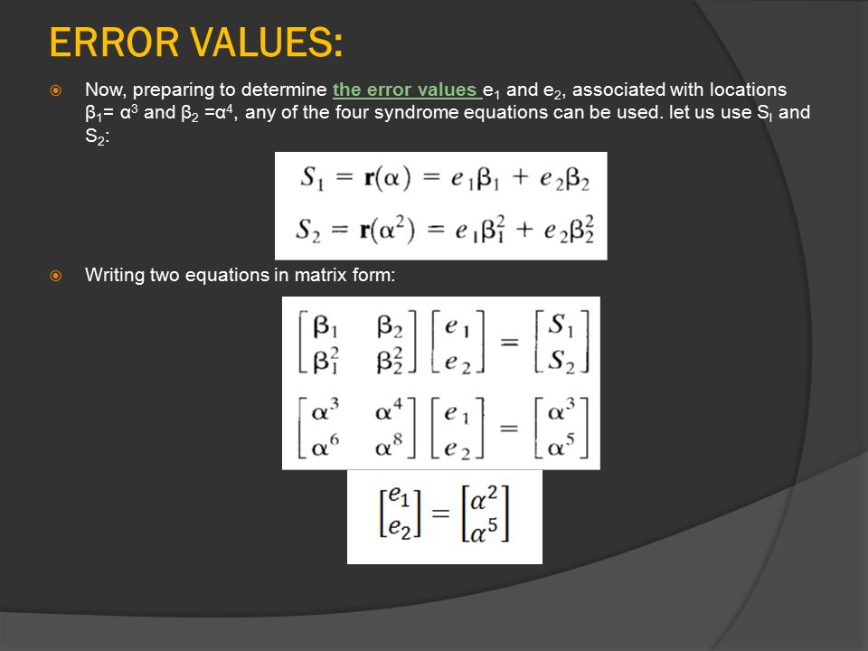 ERROR VALUES: