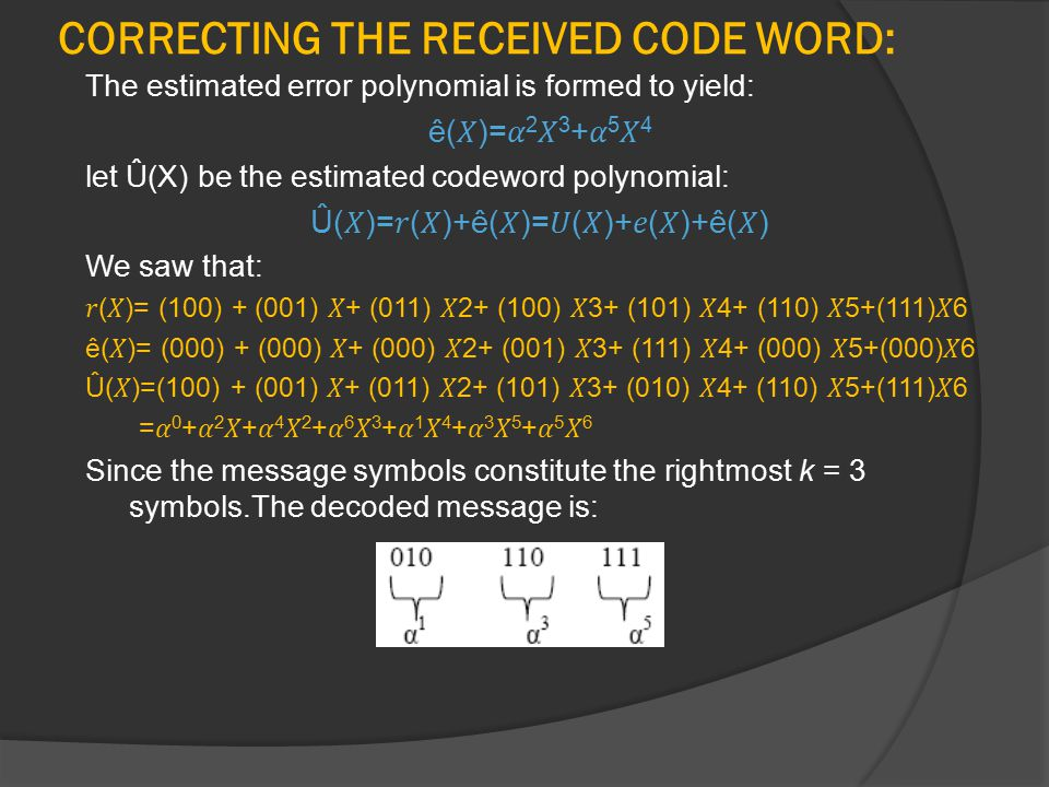 CORRECTING THE RECEIVED CODE WORD: