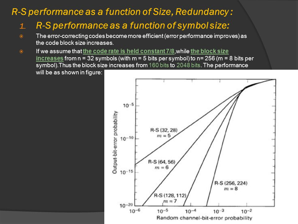 R-S performance as a function of Size, Redundancy :