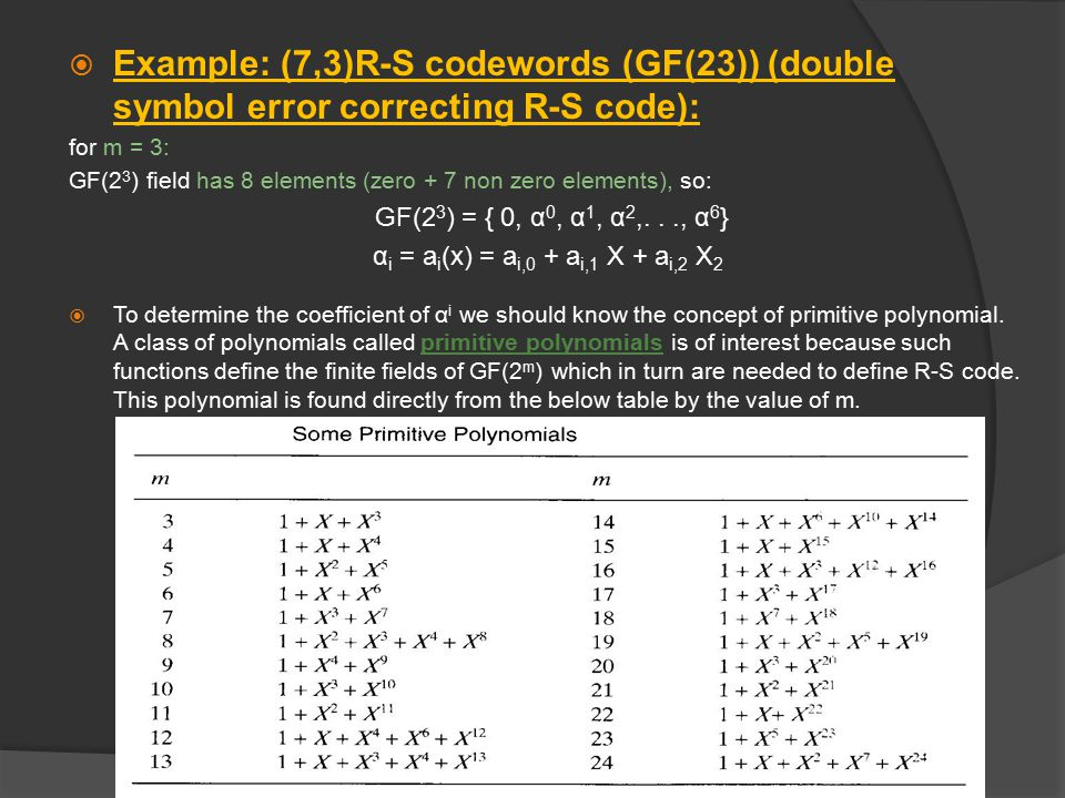 Example: (7,3)R-S codewords (GF(23)) (double symbol error correcting R-S code):