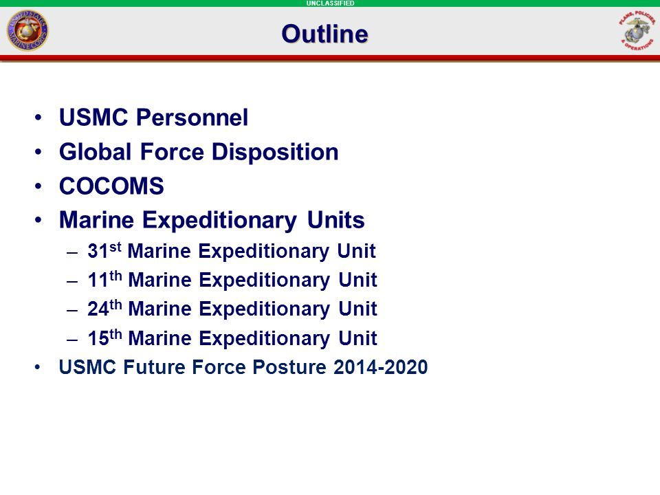 Outline USMC Personnel Global Force Disposition COCOMS