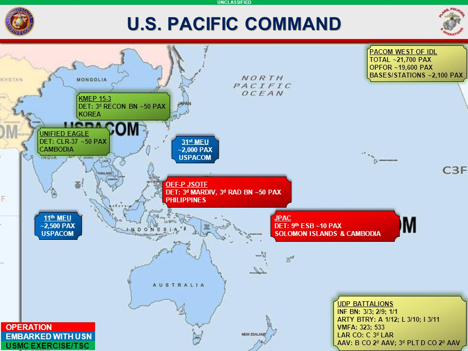 U.S. PACIFIC COMMAND PACOM WEST OF IDL. TOTAL ~21,700 PAX. OPFOR ~19,600 PAX. BASES/STATIONS ~2,100 PAX.