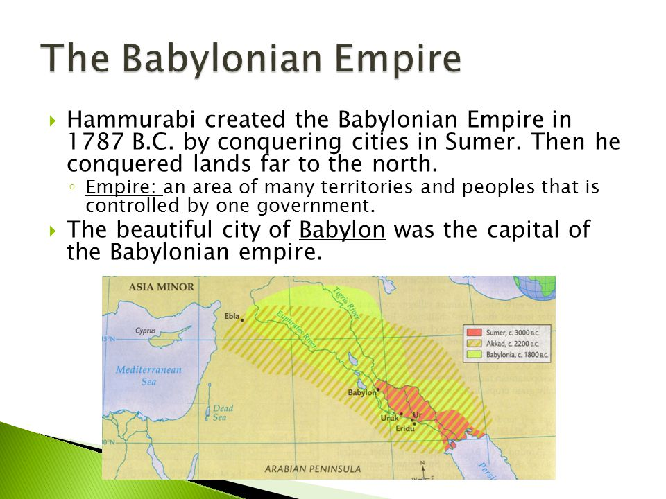 The Babylonian Empire Hammurabi created the Babylonian Empire in 1787 B.C. by conquering cities in Sumer. Then he conquered lands far to the north.