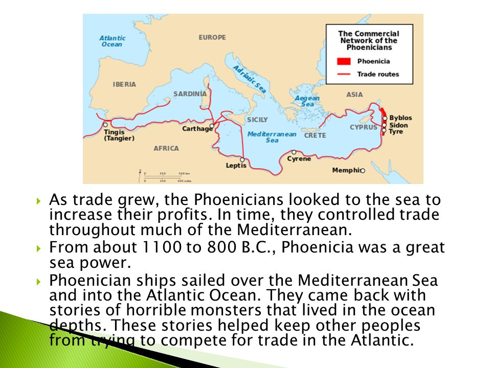 As trade grew, the Phoenicians looked to the sea to increase their profits. In time, they controlled trade throughout much of the Mediterranean.