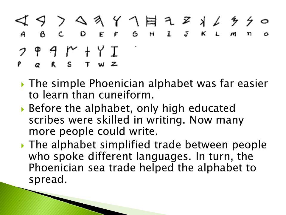 The simple Phoenician alphabet was far easier to learn than cuneiform.