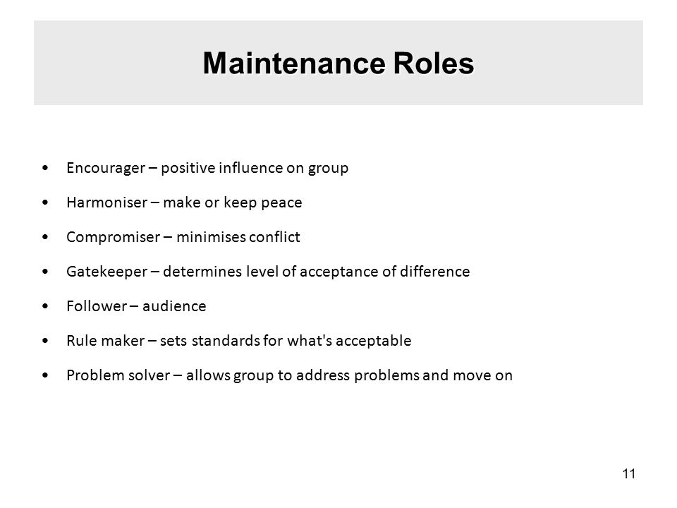 Maintenance Roles Encourager – positive influence on group