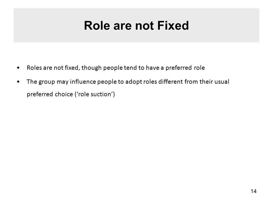 Role are not Fixed Roles are not fixed, though people tend to have a preferred role.