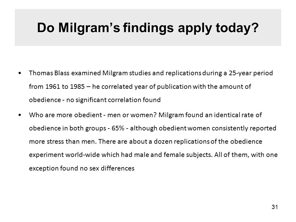 Do Milgram's findings apply today