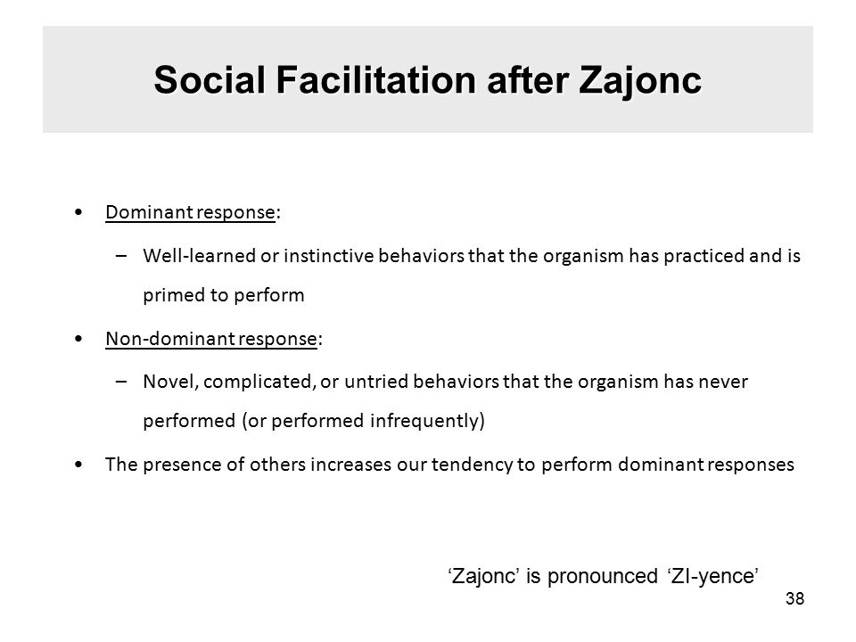 Social Facilitation after Zajonc