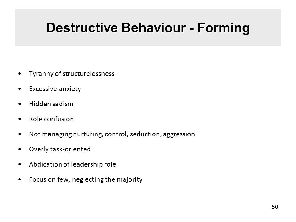 Destructive Behaviour - Forming