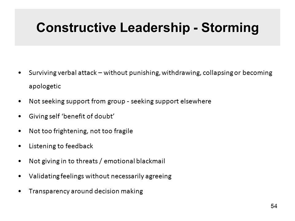 Constructive Leadership - Storming