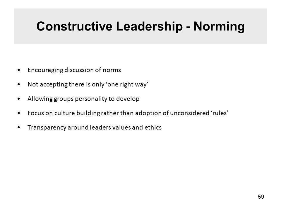 Constructive Leadership - Norming