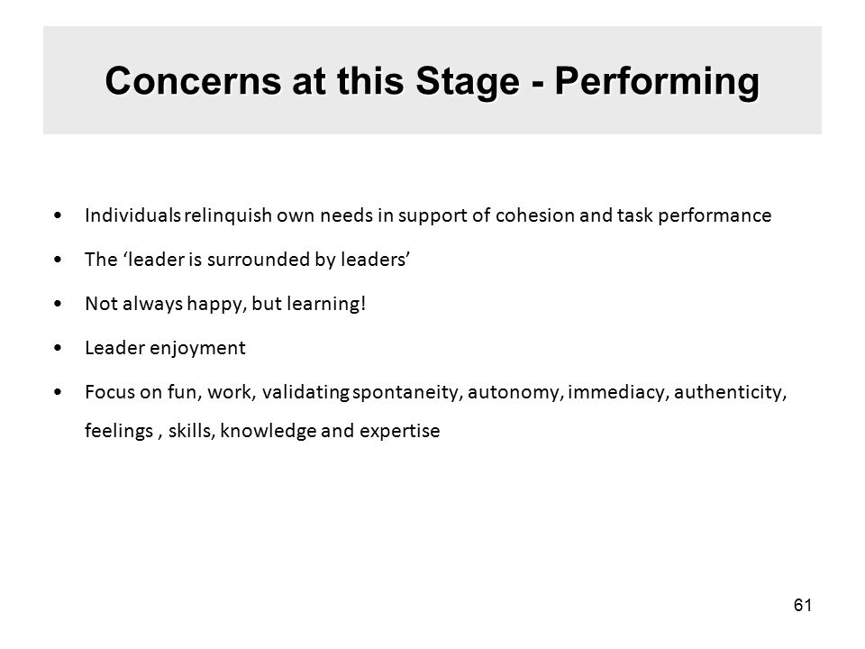 Concerns at this Stage - Performing