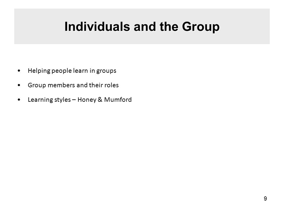 Individuals and the Group