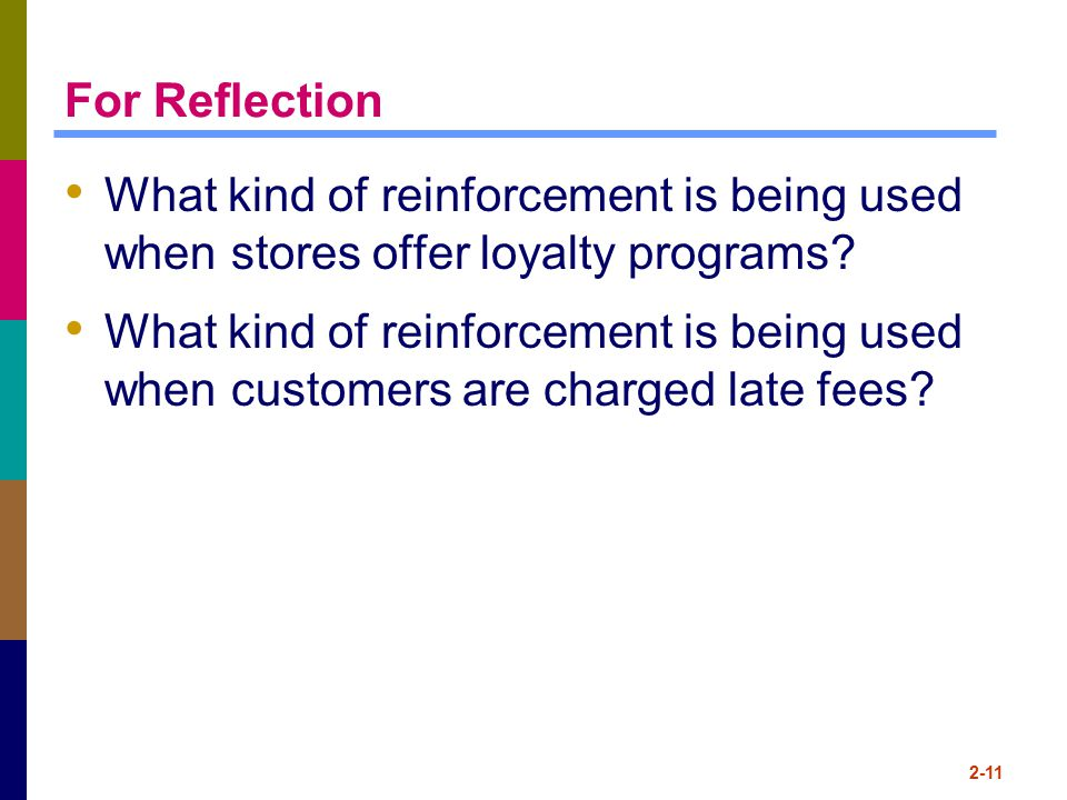 For Reflection What kind of reinforcement is being used when stores offer loyalty programs