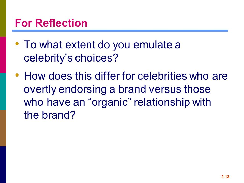 For Reflection To what extent do you emulate a celebrity's choices