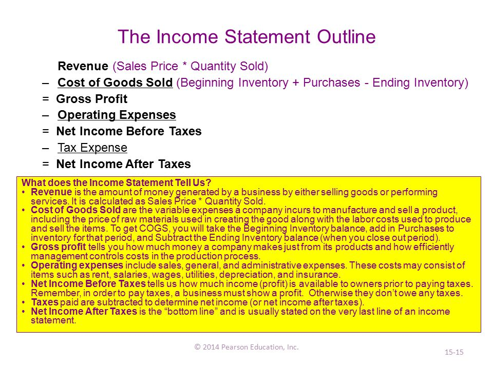 The Income Statement Outline