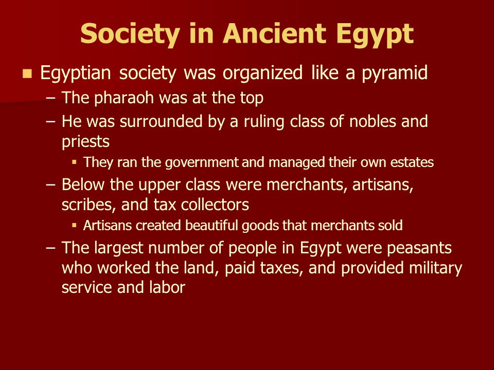 Society in Ancient Egypt