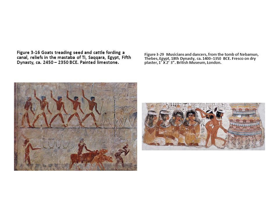 Figure 3-16 Goats treading seed and cattle fording a canal, reliefs in the mastaba of Ti, Saqqara, Egypt, Fifth Dynasty, ca. 2450 – 2350 BCE. Painted limestone.
