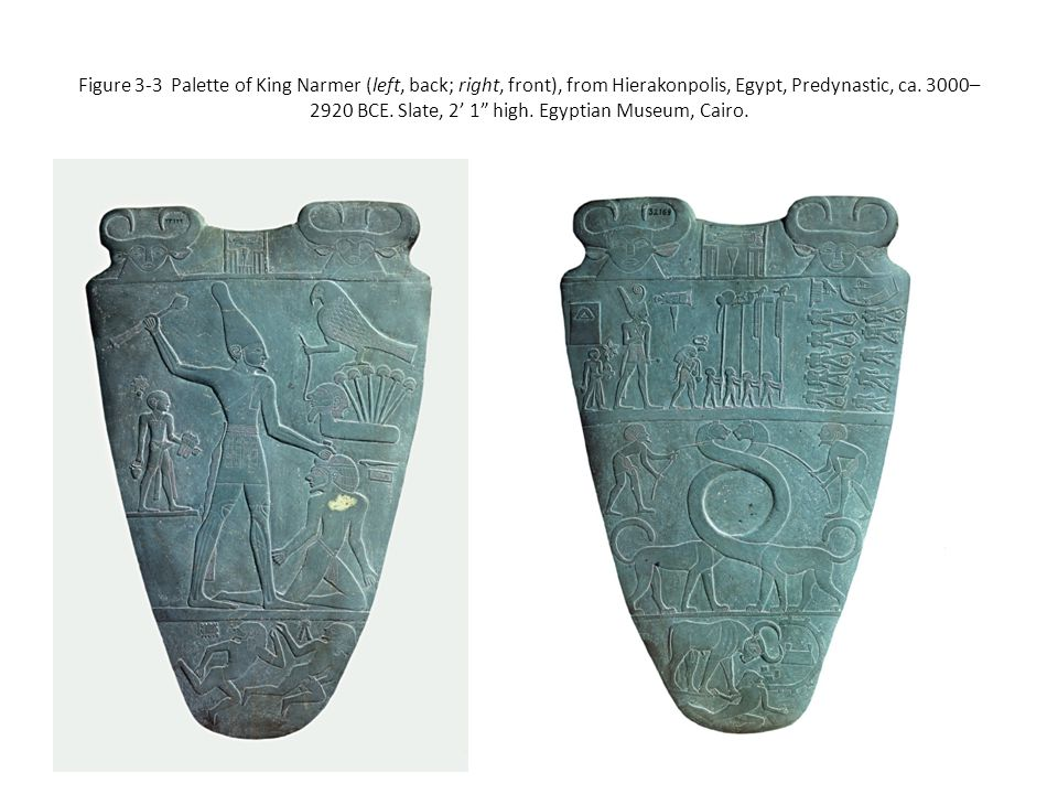 Figure 3-3 Palette of King Narmer (left, back; right, front), from Hierakonpolis, Egypt, Predynastic, ca.