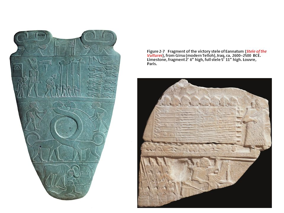 Figure 2-7 Fragment of the victory stele of Eannatum (Stele of the Vultures), from Girsu (modern Telloh), Iraq, ca.