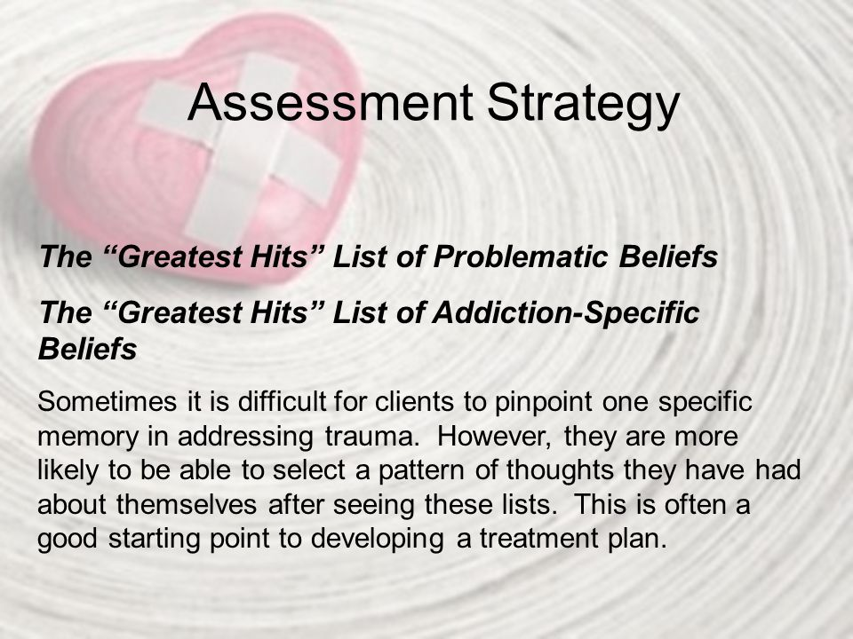 Assessment Strategy The Greatest Hits List of Problematic Beliefs