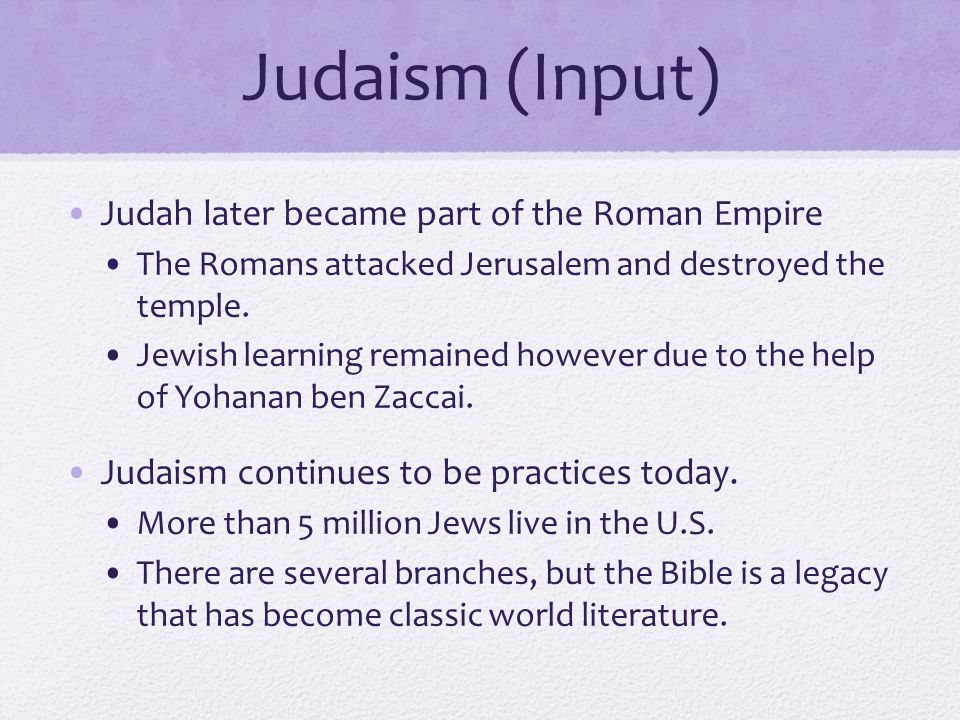 Judaism (Input) Judah later became part of the Roman Empire