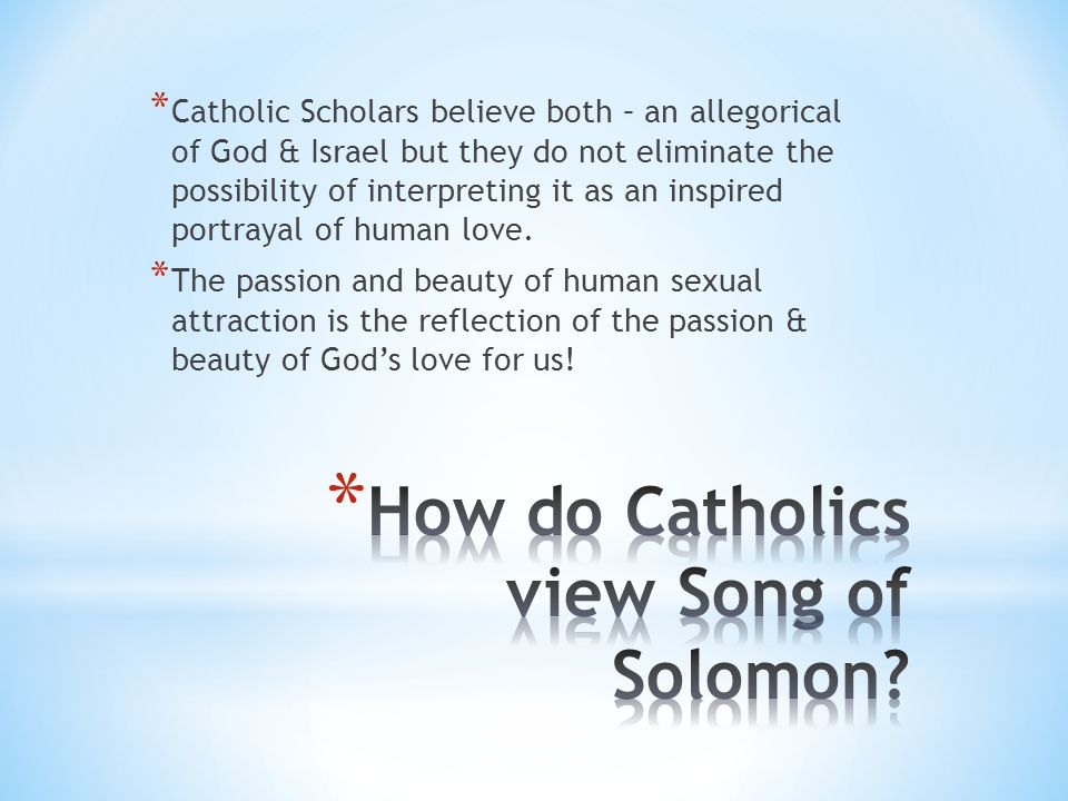 How do Catholics view Song of Solomon