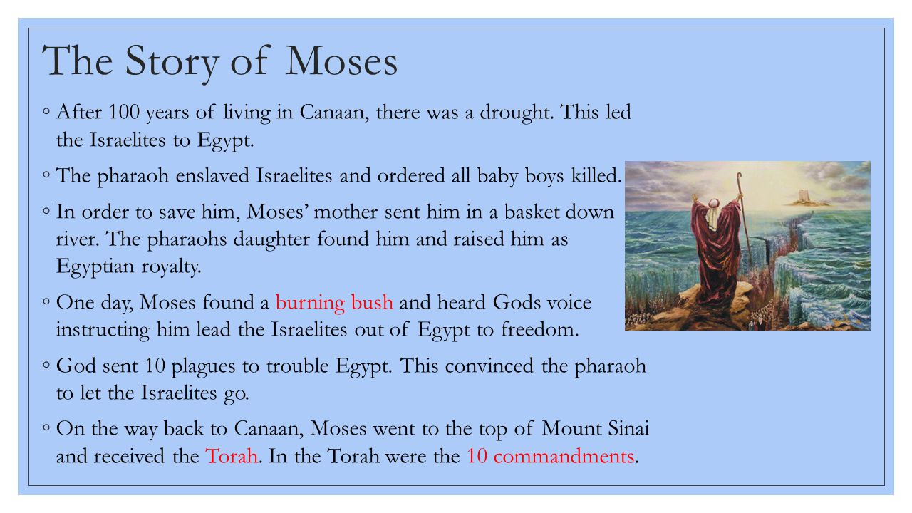 The Story of Moses After 100 years of living in Canaan, there was a drought. This led the Israelites to Egypt.