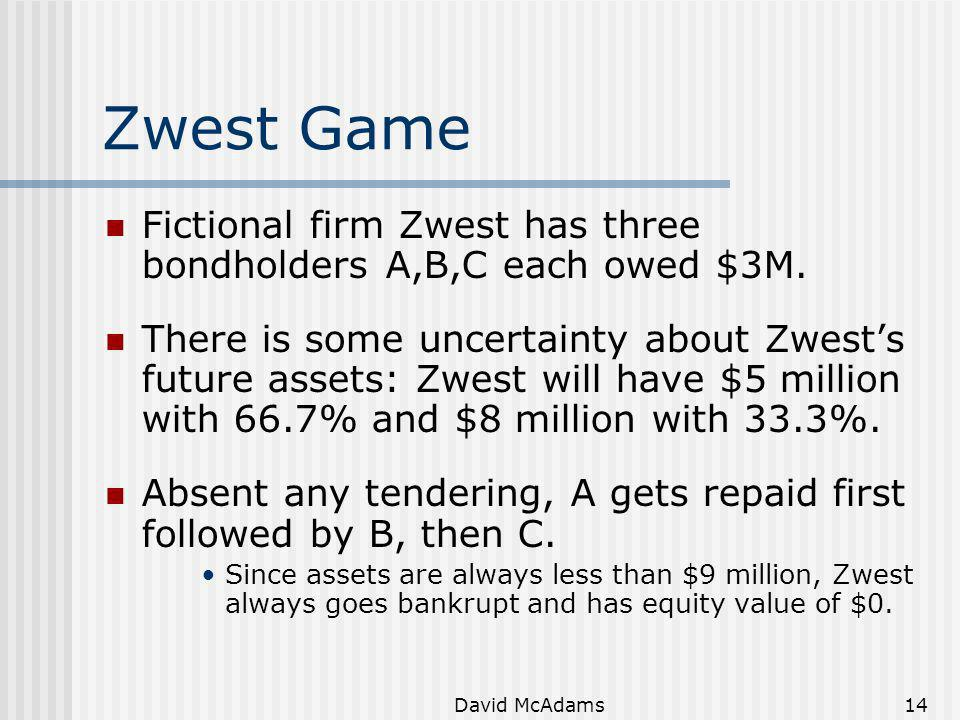 Zwest Game Fictional firm Zwest has three bondholders A,B,C each owed $3M.