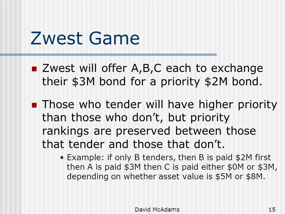 Zwest Game Zwest will offer A,B,C each to exchange their $3M bond for a priority $2M bond.