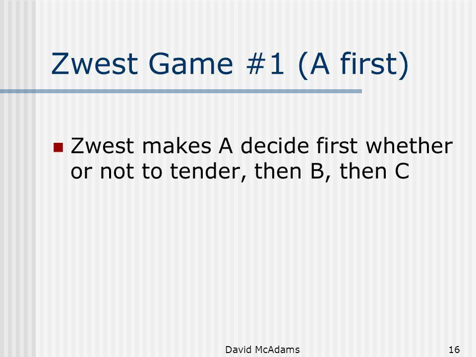 Zwest Game #1 (A first) Zwest makes A decide first whether or not to tender, then B, then C.