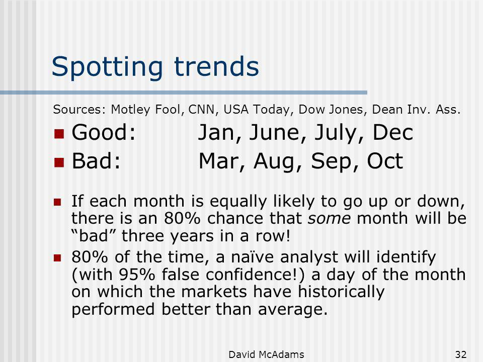 Spotting trends Good: Jan, June, July, Dec Bad: Mar, Aug, Sep, Oct