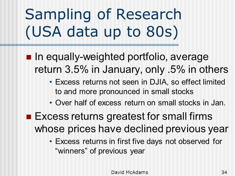 Sampling of Research (USA data up to 80s)