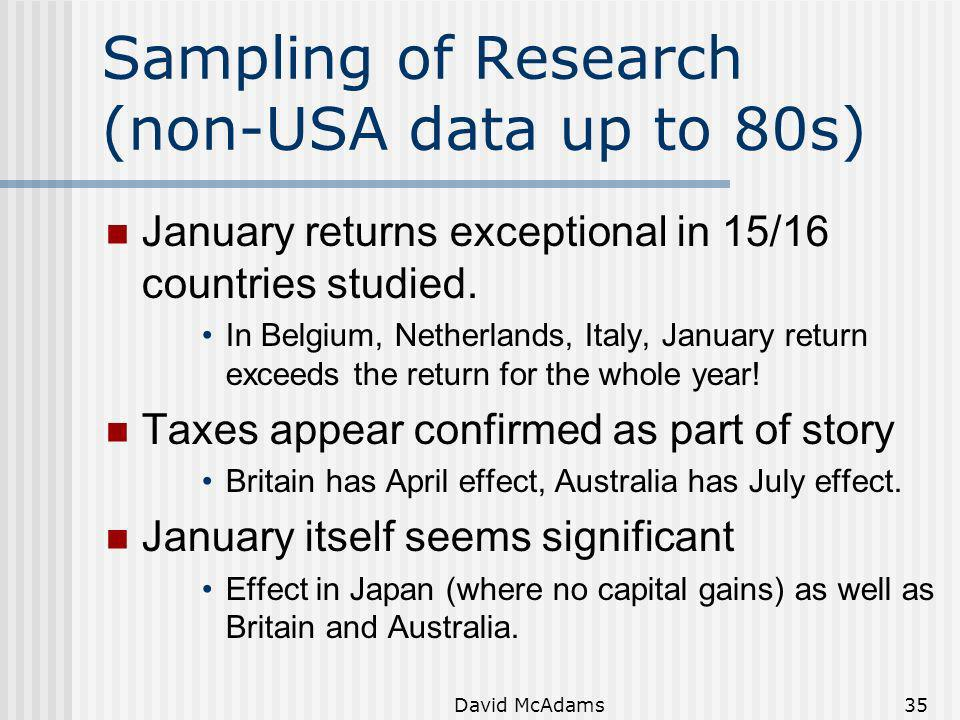 Sampling of Research (non-USA data up to 80s)