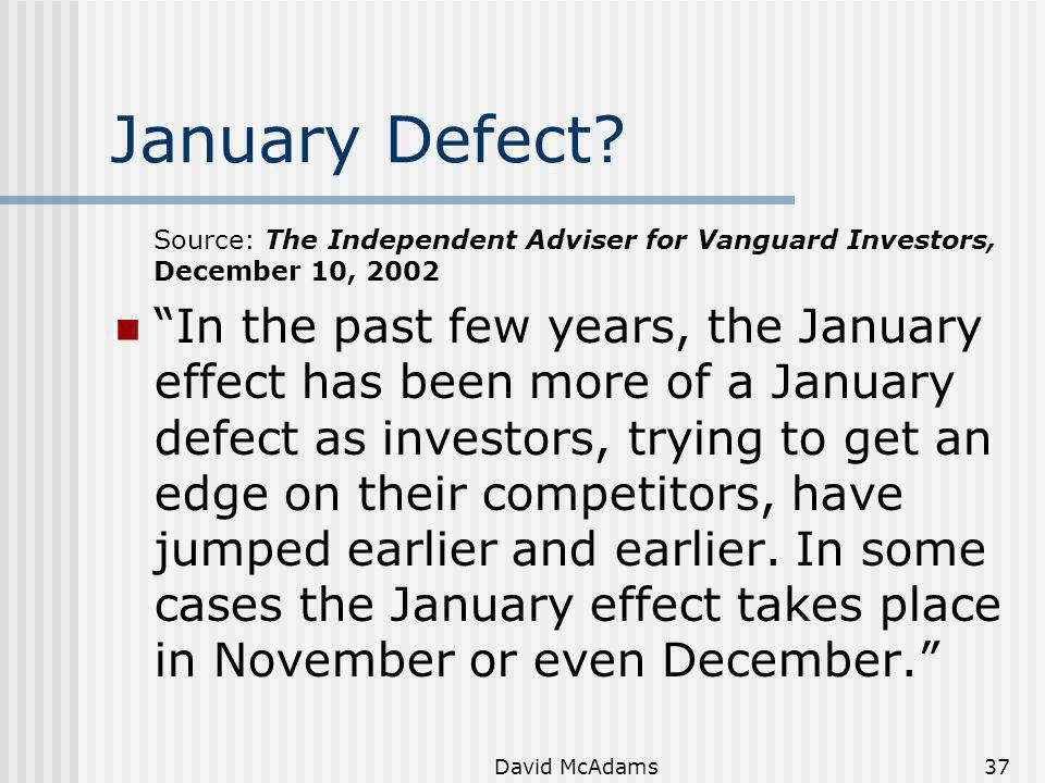 January Defect Source: The Independent Adviser for Vanguard Investors, December 10, 2002.