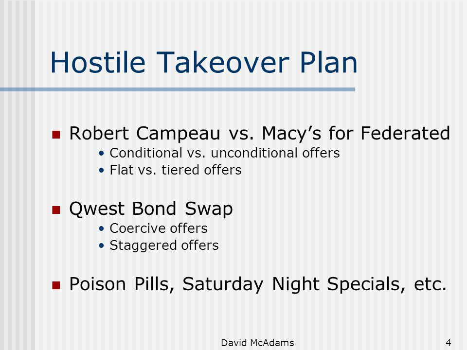 Hostile Takeover Plan Robert Campeau vs. Macy's for Federated