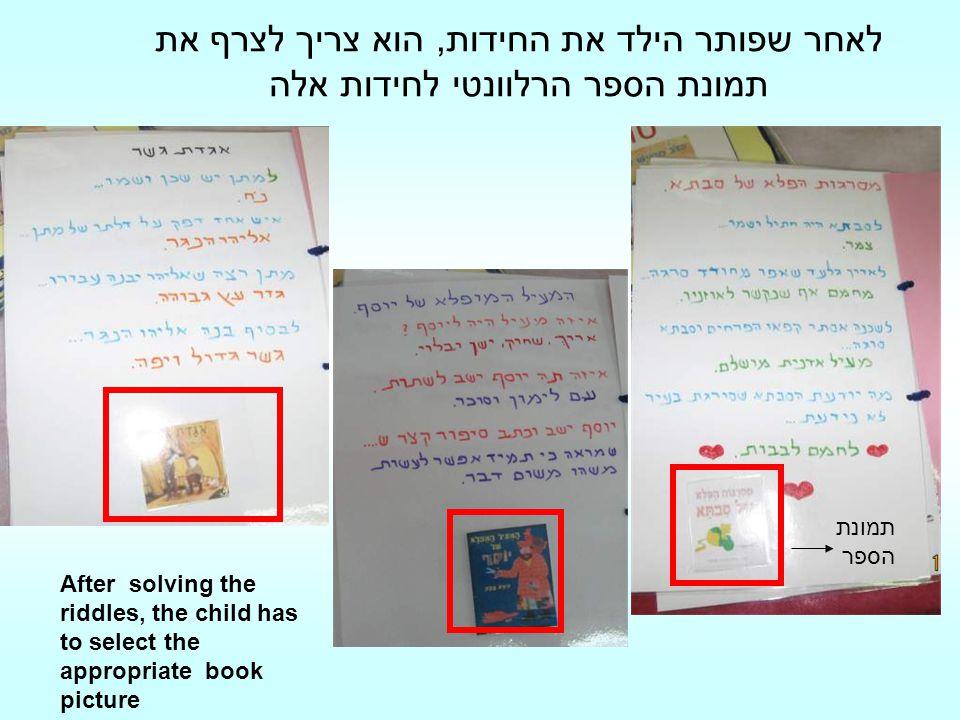 לאחר שפותר הילד את החידות, הוא צריך לצרף את תמונת הספר הרלוונטי לחידות אלה
