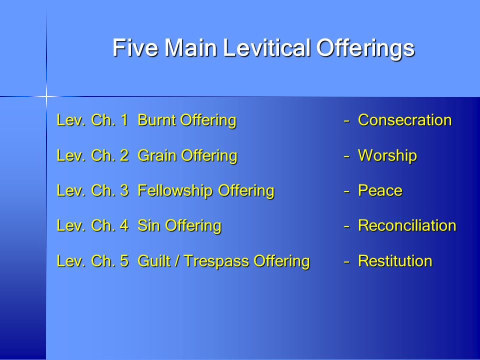Five Main Levitical Offerings