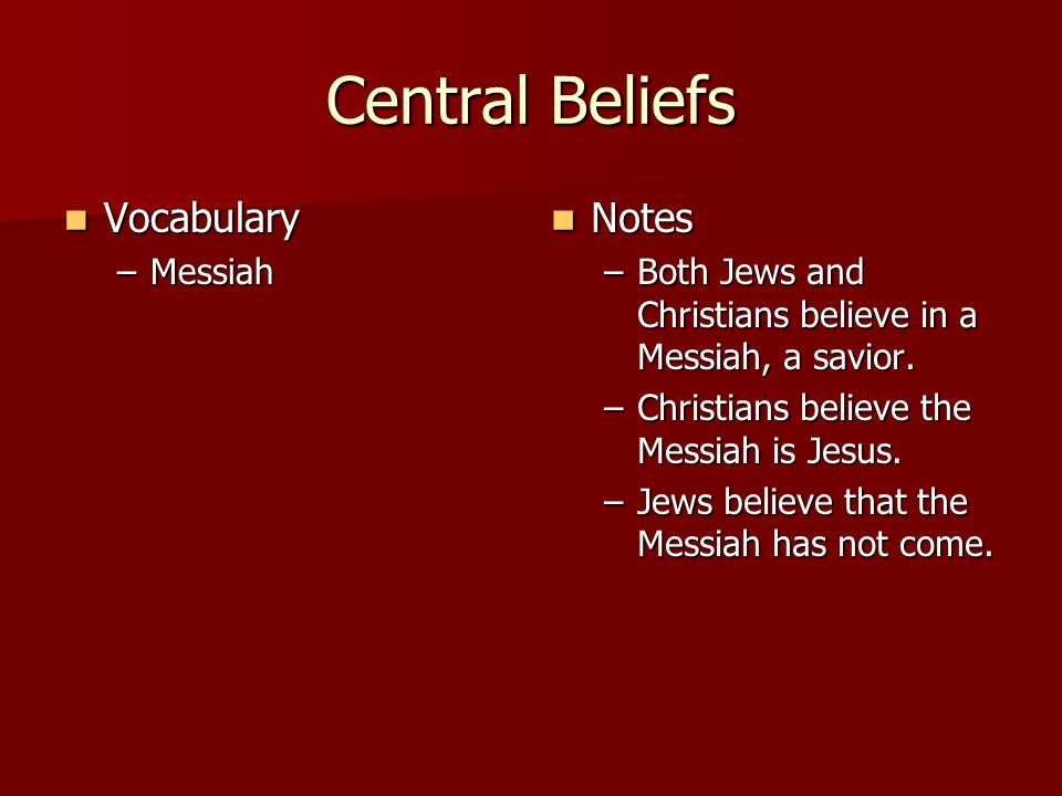 Central Beliefs Vocabulary Notes Messiah